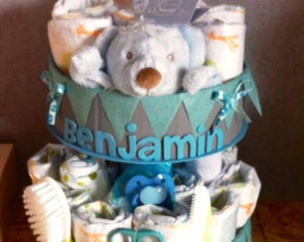"""Simple as baby"" diaper cake"