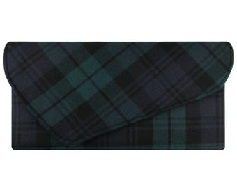 Black Watch Asymmetric Pure Wool Tartan Clutch Bag