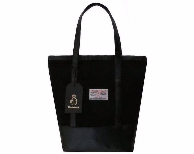 Harris Tweed Large Jet Black Tote Shoulder Bag with Faux Leather Trim