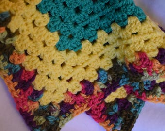 Yellow, Teal, Pink, & Rainbow Cat Mat -- Granny Square Style Crochet Pet Blanket