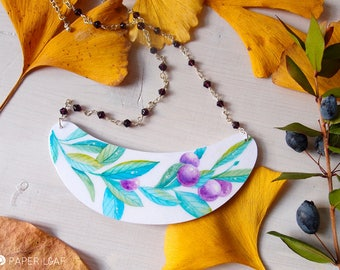 Botanical style statement necklace MYRTILLUS, handpainted paper blueberry bib necklace, silver wire wrapped chain, adjustable length chain