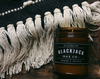No. 03 FILM NOIR Blackjack Wax Co. Handmade Soy Wax Candle 1/2 lb. Amber Jar Candle, Currant White Tea Candle, Scented Candle, Hand Poured