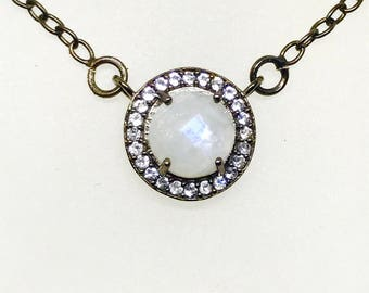 Rainbow Moonstone, white topaz Necklace pendant set in Sterling silver(92.5). Adjustable length. Satisfaction guaranteed. Natural stones.