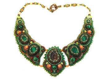 Bib necklace handmade Statement necklace beaded Embroidered necklace gemstone For women necklace bead embroidered Green necklace gift