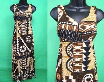 Hawaiian Dress......60's Tapa Print Maxi Hawaiian Dress Tiki Dress Luau Dress Size Small