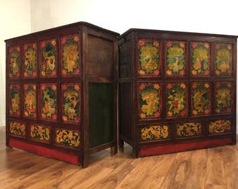 Pair of Tibetan Polychrome Painted Chests