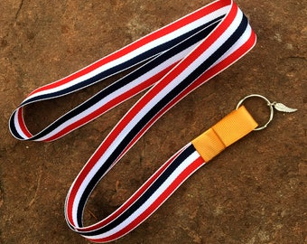 Lanyard, Red Lanyard, Blue Lanyard, White Lanyard, Striped Lanyard, Olympic Lanyard, Red White And Blue Lanyard, Gold Lanyard, ID Holder