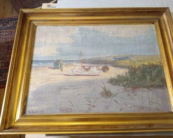 painting around 1900 in the gold leaf frame