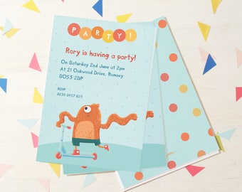 Personalised Boy's Scooter Monster Party Invitations -- Minimum order 8
