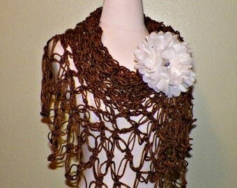 On Sale- Shawl Triangle Crochet Brown Bridal Wedding Wrap Scarf Boho Summer Wrap With Cream Brooch