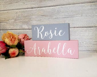 SALE-Personalized Name Blocks- Wood Block Baby/Nursery/Kids Room Decor-Baby Gift-Shower Gift-Birthday Gift-Country Decor