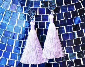HYPOALLERGENIC EARRINGS Glam Druzy Duster Earrings - Tassel Earrings - Purple Silver Lilac