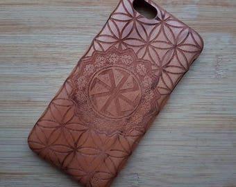 iPhone 6 Plus ''Sunwheel''  Tribal Custom Design Natural Wood Phone Case