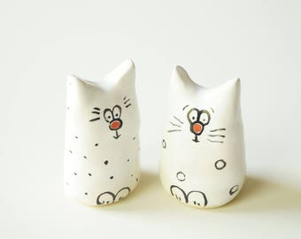 Wedding Cake Topper, Cat Cake Topper, Wedding Cake Decor, Cat Couple, Handpainted Cake Topper, Ceramics and Pottery