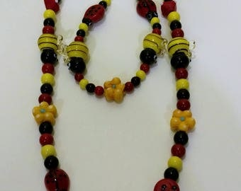 Bumble Bees and Ladybugs Necklace Set