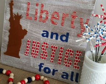 Patriotic Statue of Liberty wood sign, handmade 16x16""