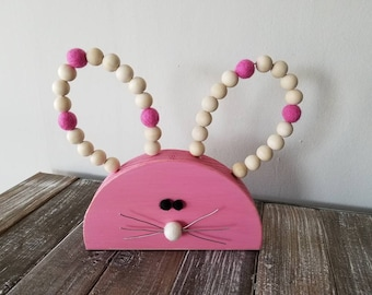 Wood bunny. Easter bunny. Shelf bunny. Easter decor. Wood beads, bunny decor, easter, pink bunny rabbit