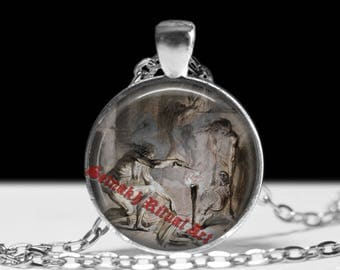 Witch spell pendant Witchcraft jewelry Occult charm Gothic necklace #421