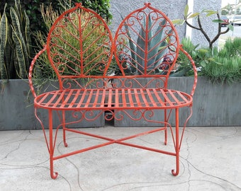 Forged Wrought Iron Gothic Fern Bench