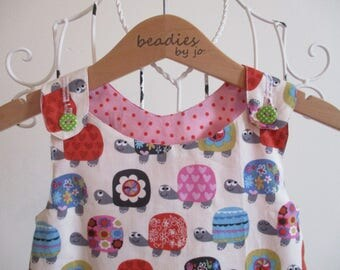 Reversible Dress, girls pinafore, Turtle print, Cath Kidston spotty fabric,  2  in 1,chintzy, cotton poplin, applique,  seagull