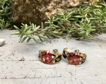 Vintage Rose Hoop Earrings