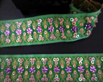 Stunning beaded lace green embroidered 50 mm