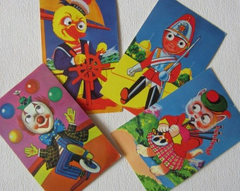 4 1950 / 1960 s Google Eyes Postcards - Clown, Sailor Duck, Cat in Kilt and Soldier
