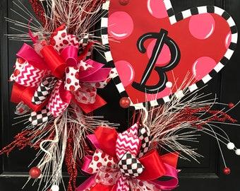 Funky Heart Wreath, Valentine's Day Wreath, Valentine's Door Decor, Heart Door Hanger