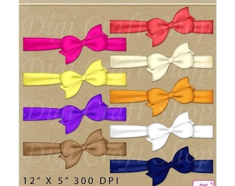 CIJ Digital Bows with ribbon. 9 assortment of colors. Perfect for birthday cards, scrapbooking, invitations and party goods. Instant downloa