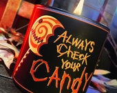 "Always Check Your Candy Candle - ""Candy Pail KILL"" Scented - Horror Candles"