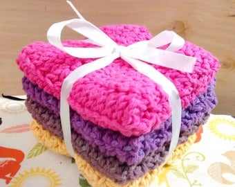 Clearance Items Crocheted Wash Cloths / Dish Cloths Set of 4 Natural Scrubbing wash cloths Girly colors