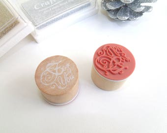 """Wood and rubber stamp """"For You"""""""