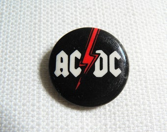 Vintage Late 70s AC/DC Logo Pin / Button / Badge
