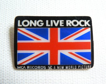 Vintage 70s The Who - Long Live Rock - The Kids Are Alright Film (1979) - Union Jack - Promotional Pin / Button / Badge