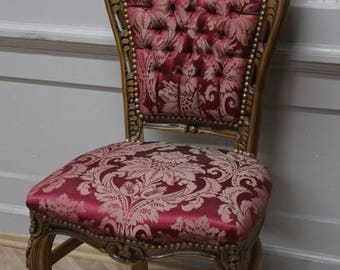 Dining room chair, Baroque style, red fabric