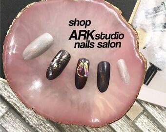 Japanese Cat-Eye Holographic Treasure Accents False Nails Press on Nails Tip Bling Fake Nails Hand Painted Nails Drag Nails