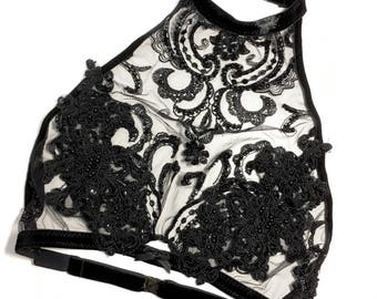 Gothic Victorian Lace bralette with adjustable velvet elastic and beaded appliques