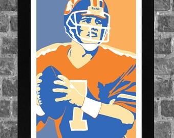 John Elway Denver Sports Print Art 11x17
