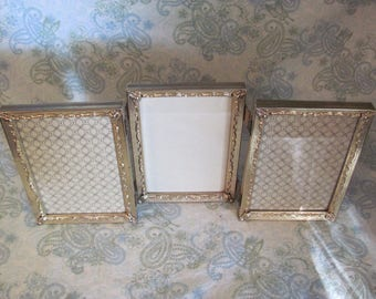 Vintage Gold Metal Triple Picture Frame,  3- 5 x 7 in. Gold Metal Frames