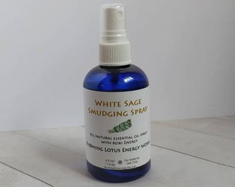 Sage, Smudging, Sage Spray, White Sage Spray. Smudging Spray, Energy Clearing, Reiki Charged, Essential Oil Spray, Palo Santo, 4oz