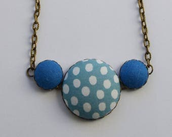 Vintage liberty blue polka dots and brass necklace