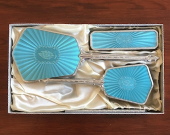 Art Deco Vanity Set: Vintage Silver and Turquoise Brush, Mirror, and Brush in Box