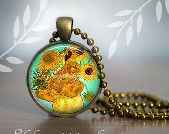 Van Gogh Sunflower Necklace, Van Gogh Earrings,  Sunflowers, Floral Earrings, Famous Paintings, Famous Artist, Van Gogh Gift for Women