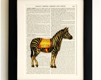 FRAMED ART PRINT on old antique book page - Zebra, Vintage Upcycled Wall Art Print Encyclopaedia Dictionary Page