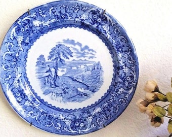 """Antique Transferware Blue and White LAKE Pattern Dinner Plate by ASHWORTH c.1860 to 1880 s 9.5"""""""