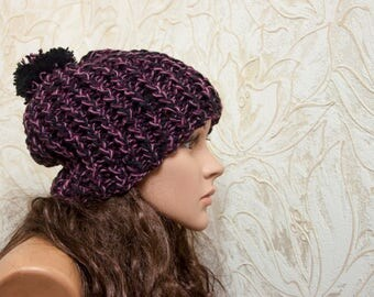Knit Hat - Winter Beanie for Women - Women's Winter Hat -  Slouchy Hat - Women's Slouch Hat - Christmas Gift - Gift for Her - READY TO SHIP