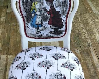 Alice in Wonderland inspired Queen of hearts Louis chair