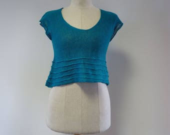 Special price. Linen forget-me-not crop top, S size.