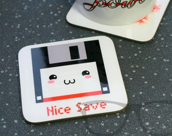 Coaster, geeks, Mug Coaster, Nice Save, cute coaster, pun, floppy disk, cute disk, save, gift for him, gift for her, gift for mugs