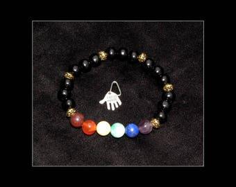 Chakra Healing Gemstones Bracelet Handmade Strung on strong elastic size L